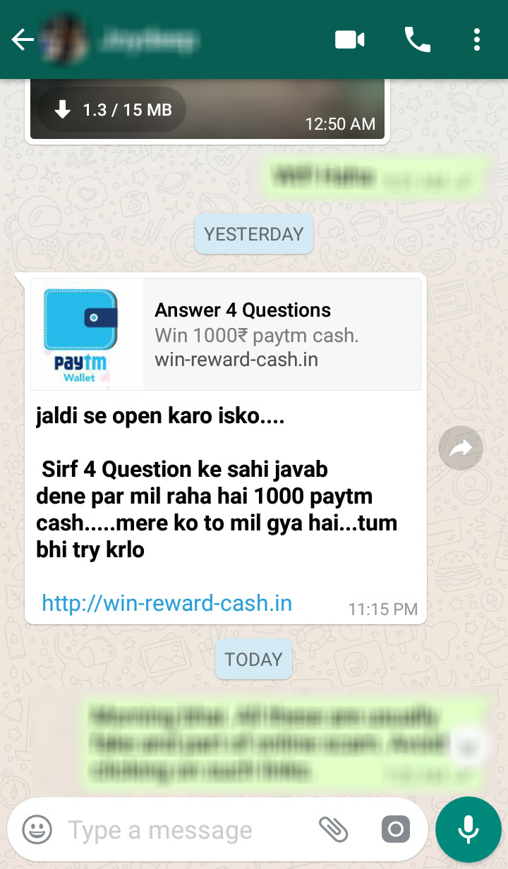 Beware of the new WhatsApp message scam that promises Rs  1000